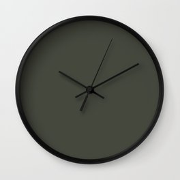 Dark Hunter Green Solid Color Pairs with Sherwin Williams Alive 2020 Forecast Color - Ripe Olive SW6 Wall Clock