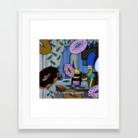simpsons Framed Art Prints featuring Simpsons - Doughnuts by Katieb1013