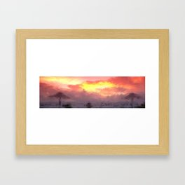 SUN STORMY BEACH Framed Art Print