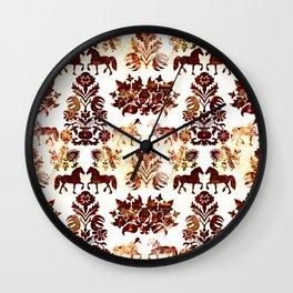 horse damask Wall Clock