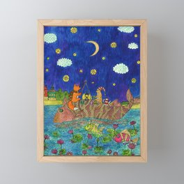 The cat and the fox are swimming on a big fish. Framed Mini Art Print