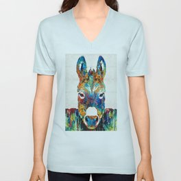 Colorful Donkey Art - Mr. Personality - By Sharon Cummings Unisex V-Neck