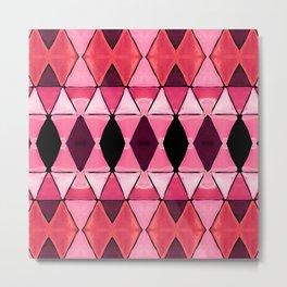 Art Deco Triangles Hot Pink Metal Print
