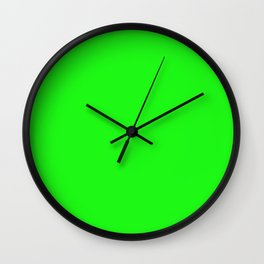 From The Crayon Box – Electric Lime - Bright Green - Neon Green Solid Color Wall Clock