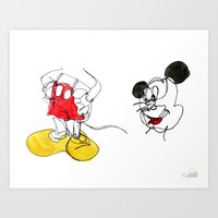mickey Art Prints featuring Mickey by bearh.