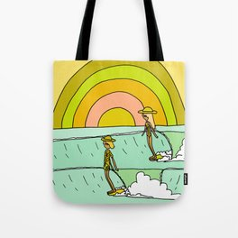 follow the light rainbow sunrise daydream hang 10 Tote Bag