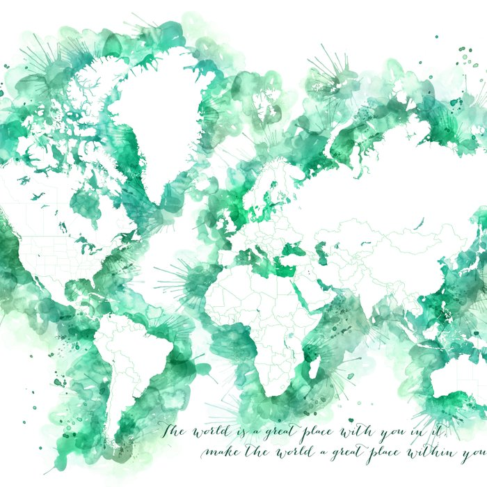Inspirational quote watercolor world map Comforters