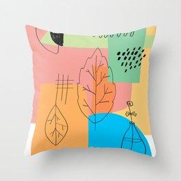 Floral Seasons Illustration Digital Collage Throw Pillow