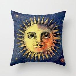 Celestial Antique Sun And Sky Watercolor Batik Throw Pillow