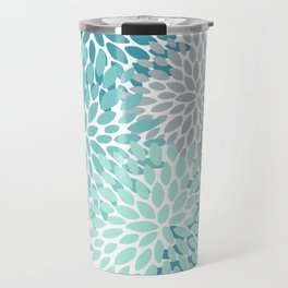 Floral Pattern, Aqua, Teal, Turquoise and Gray Travel Mug