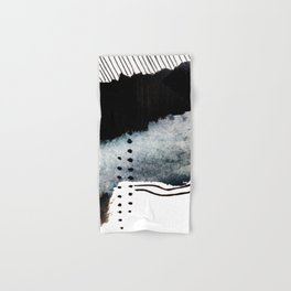 Closer - a black, blue, and white abstract piece Hand & Bath Towel
