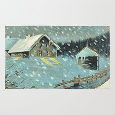 Snowy house in the woods vintage Rug