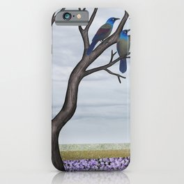 grackles in a tree in spring iPhone Case
