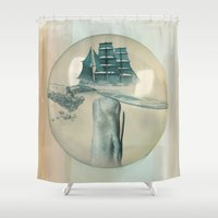 moby dick Shower Curtains featuring The Battle - Captain Ahab and Moby Dick by Vin Zzep