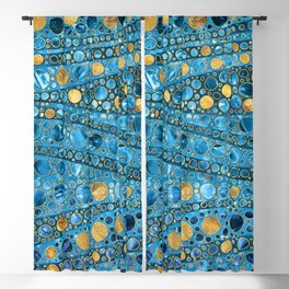 Dot Art Waves - Blue Gemstone and Gold Blackout Curtain