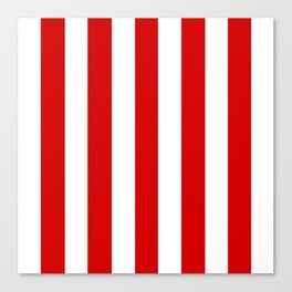 Rosso corsa red - solid color - white vertical lines pattern Canvas Print