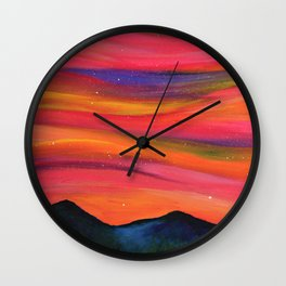 TWILIGHT SKY OVER MOURNE MOUNTAINS - Abstract Sky Oil Painting Wall Clock