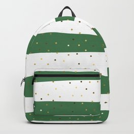 Simple Christmas seamless pattern Golden Confetti on Green and White Stripes Background Backpack