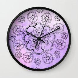 FLORAL INDIE WATERCOLOR MANDALA Wall Clock
