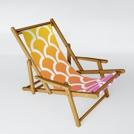 Classic Fan or Scallop Pattern 460 Yellow Orange and Magenta Sling Chair
