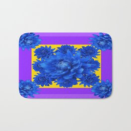 Purple Shades Pattern  Blue Dahlias Abstract Art Bath Mat