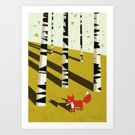 fox in birchland Art Print