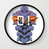 evangelion Wall Clocks featuring EVANGELION ANIMA UNIT 01 BACK by F4LLEN_LEAF
