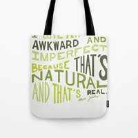 marc jacobs Tote Bags featuring I Love Anything Awkward and Imperfect Because That's Natural and That's Real - Marc Jacobs by One Curious Chip