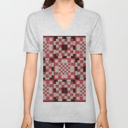Brown and red patchwork quilt background with geometric patterns Unisex V-Neck