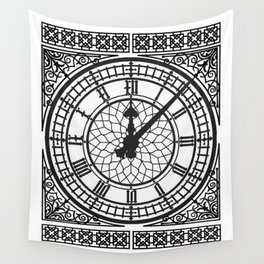 Big Ben, Clock Face, Intricate Vintage Timepiece Watch Wall Tapestry
