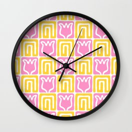 Mid Century Flower Garden Pattern 381 Yellow and Pink Wall Clock