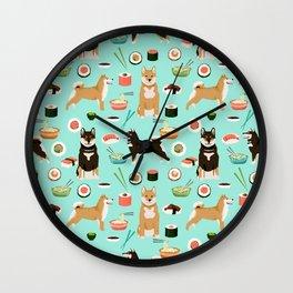 Shiba Inu noodles pho food cute dog art sushi dogs pet portrait pattern Wall Clock
