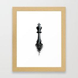 Farewell to the King / 3D render of chess king breaking apart Framed Art Print