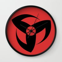 kakashi Wall Clocks featuring Kakashi Sharingan by 2hootsdesign