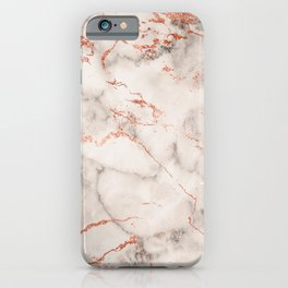 Elegant abstract gray rose gold foil marble iPhone Case