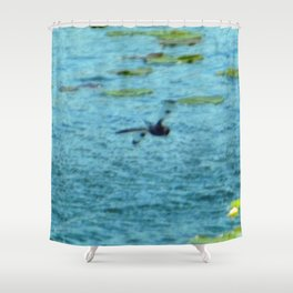 Dragonfly Flying Over Blue Waters Shower Curtain