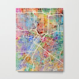 Houston Texas City Street Map Metal Print