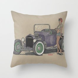 T-bucket Girl Throw Pillow