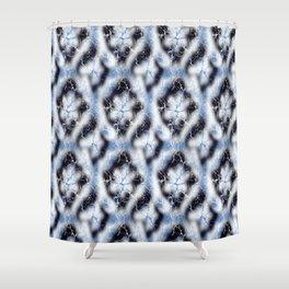 Shibori Style Lattice in indigo,light blue,white Shower Curtain