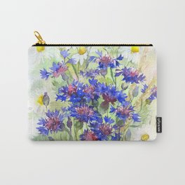 Meadow watercolor flowers with cornflowers Carry-All Pouch