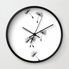 Dandelion Seeds In Black Minimalist Nature Wall Clock