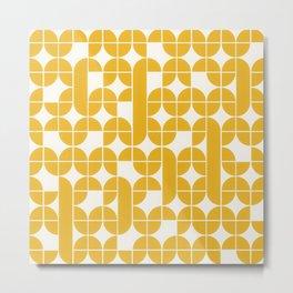 Mid Century Modern Geometric Pattern Yellow Metal Print