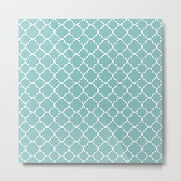 Chalky Blue Clover Pattern Metal Print
