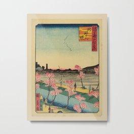 Utagawa Yoshitaki - 100 Views of Naniwa: Kitamyoken Embankment (1880s) Metal Print