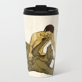 Castiel cuddling with werewolf!Dean Travel Mug