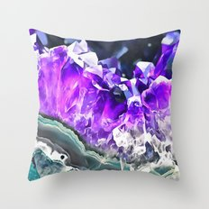 Purple Agate Crystal Throw Pillow
