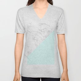 White Marble with Pastel Blue and Grey Unisex V-Neck