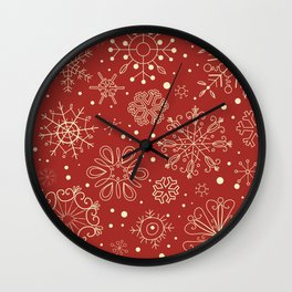 Abstract Red Beige Christmas Snowflakes Wall Clock