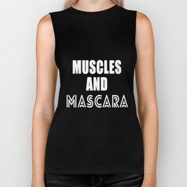 Muscles and Mascara cool women training funny t-shirt Biker Tank