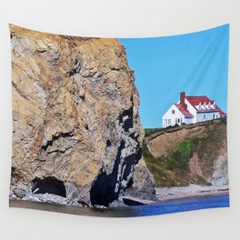 Cliffside Coastal Home Wall Tapestry